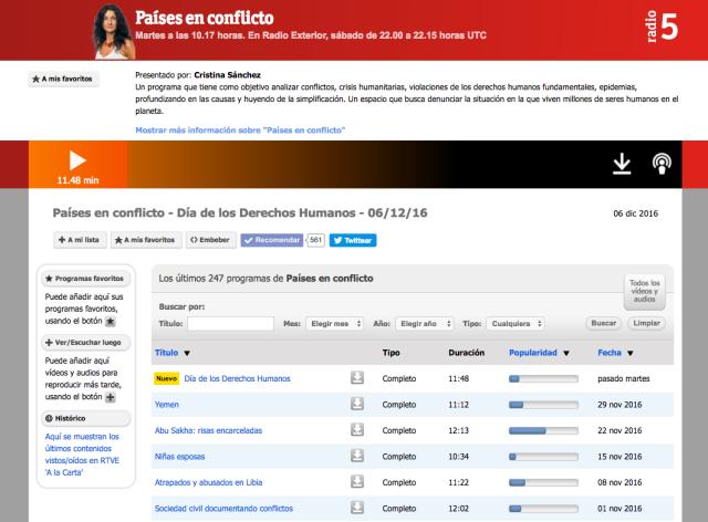 Página web de Países en conflicto. RNE5