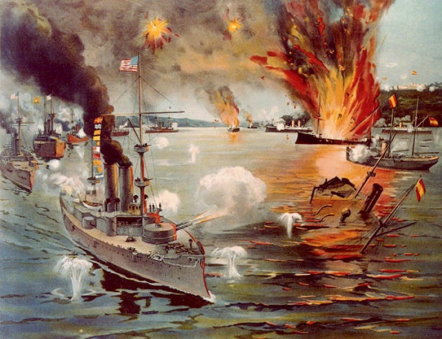 Batalla naval de Cavite. Anónimo, 1898. Battle of Manila Bay showing USS Olympia